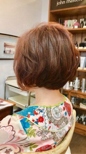 髪質改善ノンジアミンカラーのピンク