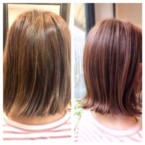 ツヤ髪の髪質改善カラーピンクベージュのビフォー&アウターの写真